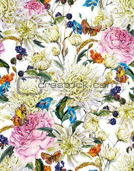 Watercolor Floral Seamless Background  with Chrysanthemums