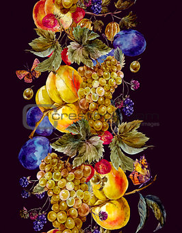 Autumn watercolor seamless border with fruits and butterflies
