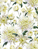 Vintage Watercolor Floral Seamless Background  with Chrysanthemu