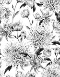 Vintage Monochrome Watercolor Floral Seamless Background  with C