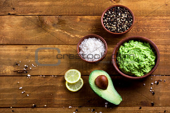 avocado and other ingredients for sauce guacamole top view