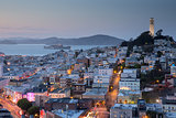 Dusk over San Francisco Telegraph Hills and North Beach