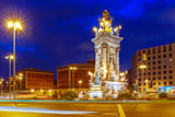 Placa Espanya in Barcelona at night, Spain