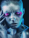 Aluminium girl with pink and purple eyeshadows makeup mua