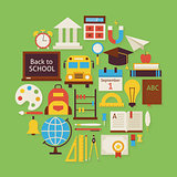 Back to School and Education Vector Flat Design Circle Shaped Ob