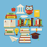 Books Education and Knowledge Vector Flat Design Circle Shaped O