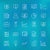 Business Chart Graph and Finance Line Icons Set over Polygonal B