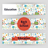 Education School and Science Vector Template Banners Set in Mode