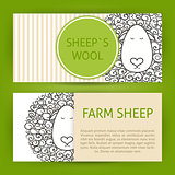 Farm Sheep Fool Concept Hand Drawn Style Vector Template Banners