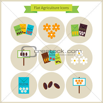 Flat Agriculture and Flowers Icons Set