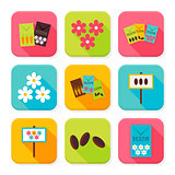 Flat Agriculture and Flowers Squared App Icons Set