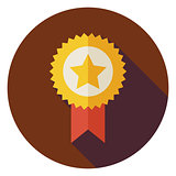Flat Award Gold Medal Circle Icon with Long Shadow