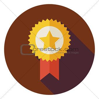 Flat Award Gold Medal Circle Icon with Long Shadow