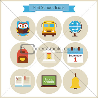 Flat Back to School and Science Icons Set