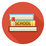Flat Back to School Books with Bookmark Circle Icon with Long Sh