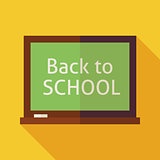 Flat Back to School Chalkboard Illustration with long Shadow