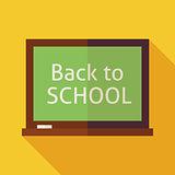Flat Back to School Chalkboard Illustration with long Shadow