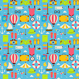 Flat Beach Travel Resort Vacation Seamless Pattern