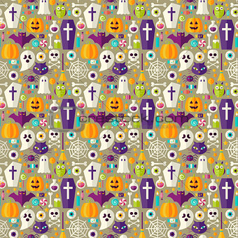 Flat Beige Halloween Party Seamless Pattern