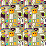 Flat Beige Halloween Trick or Treat Objects Seamless Pattern