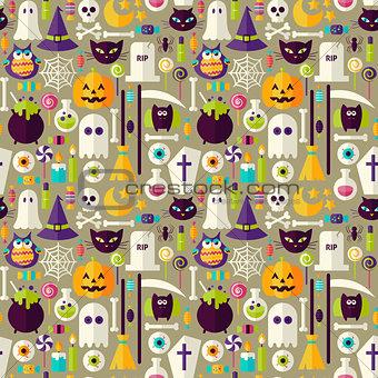 Flat Beige Halloween Trick or Treat Objects Seamless Pattern