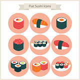 Flat Big Sushi Set Circle Icons