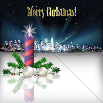Abstract Christmas greeting with silhouette of city