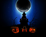 3D Halloween background with pumpkins, spooky castle silhouette