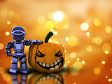 Halloween background with 3D pumpkin robot