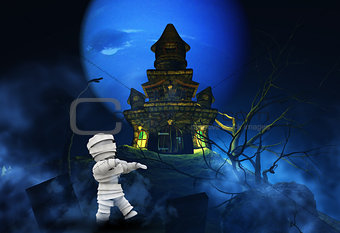 3D Halloween background with zombie and spooky castle