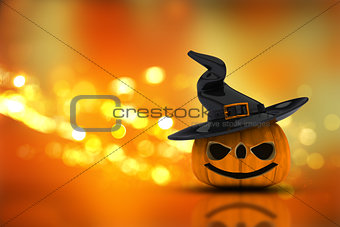 3D Halloween pumpkin on a bokeh lights background