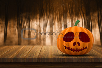 3D Halloween pumpkin on a wooden table with defocussed foggy for