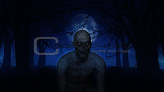 3D demonic figure in spooky woods