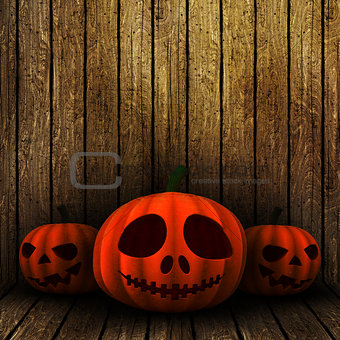 3D grunge Halloween jack o lanternS on a wooden background