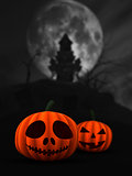3D spooky pumpkins in haunted castle landscape