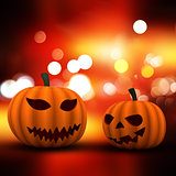 3D Halloween background with pumpkins on a bokeh lights backgrou