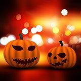 3D Halloween background with pumpkins on a bokeh lights backgrou