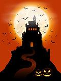 Halloween castle and pumpkins