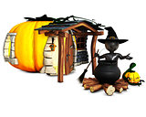 3D Morph Man Witch with pumpkins