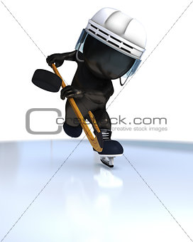 3D Morph Man playing ice hockey