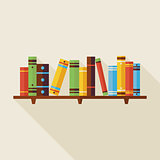 Flat Bookshelf Reading Books Illustration with Shadow