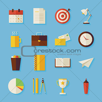 Flat Business and Office Objects Set with Shadow