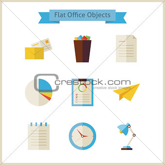 Flat Business and Office Objects Set