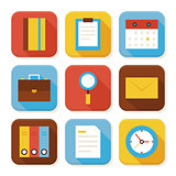 Flat Business and Office Squared App Icons Set