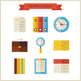 Flat Business Office Objects Set