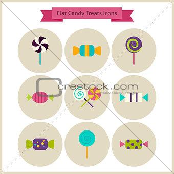 Flat Candy Sweets Treats Icons Set