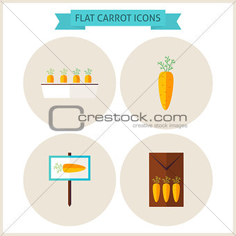 Flat Carrot Vegetable Website Icons Set