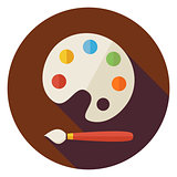 Flat Colorful Palette with Paintbrush Circle Icon with Long Shad