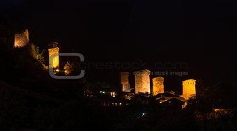 old illuminated towers - Mestia