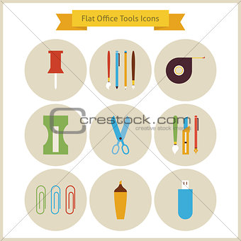 Flat Education School and Business Office Tools Icons Set